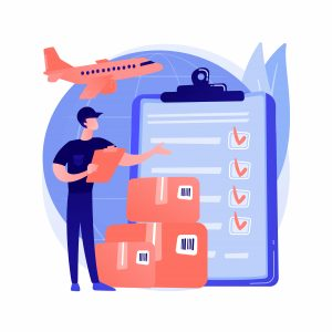 Customs clearance abstract concept vector illustration. Customs duties, import expert, licensed customs broker, freight declaration, vessel container, online tax payment abstract metaphor.